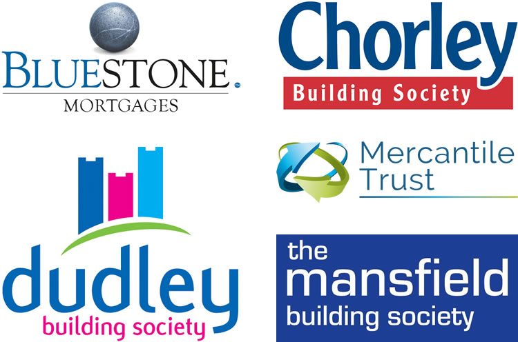 Bluestone Mortgages, Chorley Building Society, Dudley Building Society, Mercantile Trust, The Mansfield Building Society Logos